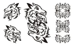Samoyed dog breed. Tribal dog symbols Stock Image