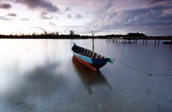 Sampan boat or a fishing boat, Tuaran Sabah. Fishing boat docking in Mengkabong river, Tuaran Sabah Stock Photos
