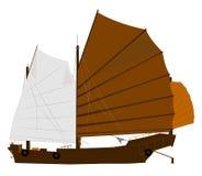 Sampan. Chinese junk sampan boat over white stock illustration