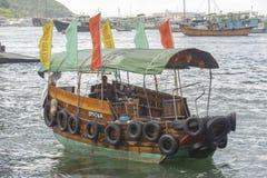 Sampan i den Hong Kong hamnen Arkivfoto