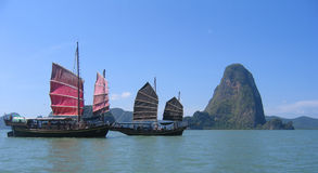 Sampan tour boats Stock Photos