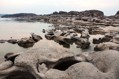 Sampanbok (3000 Hole), The Amazing of Rock in Mekong River, Thailand Royalty Free Stock Images