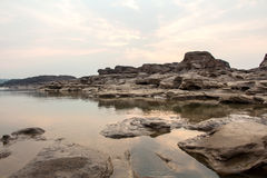 Sampanbok (3000 Hole), The Amazing of Rock in Mekong River, Thailand Royalty Free Stock Photography