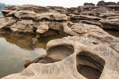 Sampanbok (3000 Hole), The Amazing of Rock in Mekong River, Thailand Royalty Free Stock Photo
