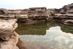 Sampanbok (3000 Hole), The Amazing of Rock in Mekong River, Thailand Royalty Free Stock Image