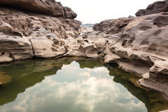 Sampanbok (3000 Hole), The Amazing of Rock in Mekong River, Thailand Stock Images