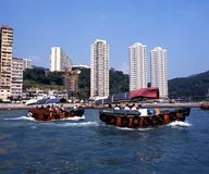 Sampannen in haven, Hong Kong Stock Afbeelding