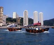Sampans в гавани, Гонконге Стоковое Изображение