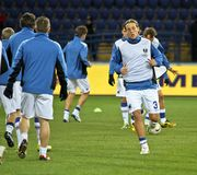 Sampdoria Genoa players warming-up Stock Photos