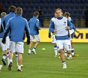 Sampdoria Genoa players warming-up Stock Photos