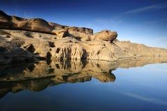 Samphanboak canyon and blue sky Royalty Free Stock Photography