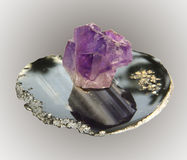Sample amethyst crystal stone agate on base,. A collection of minerals stock images