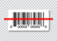 Sample Bar Codes For Scanning Icon with red laser, Vector Illustration isolated.  Stock Image