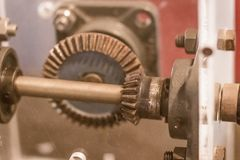 Sample of bevel gear set. Bevel gears are gears where the axes o. F the two shafts intersect and the tooth-bearing faces of the gears themselves are conically stock photos
