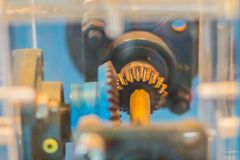 Sample of bevel gear set. Bevel gears are gears where the axes o. F the two shafts intersect and the tooth-bearing faces of the gears themselves are conically stock image