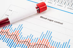 Sample blood for screening diabetic test in blood tube. Sample blood for screening diabetic test in blood tube on blood sugar control chart stock photo