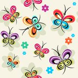 Sample with butterflies. Colored repeat sample with flowers and butterflies Royalty Free Stock Photo