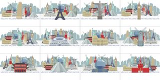 Sample calendar with panoramas of world sights. stock illustration