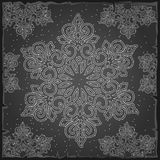 Sample Christmas wrapping paper gray color. The texture of the snowflakes. Sketch for greeting card, festive poster or. Party invitations.The attributes of Royalty Free Stock Photo