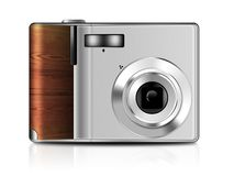 Illustration of digital compact camera with reflection on white background. Sample of compact digital camera drawn in Photoshop on a white background with Royalty Free Stock Photography