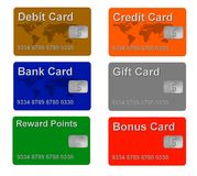 Sample credit and gift cards Stock Photography