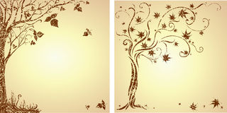 Sample of design with decorative tree. Vector grunge sample of design with decorative tree from colorful autumn leafs and place for text. Thanksgiving Royalty Free Stock Photography