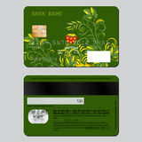 Sample design template credit card from two sides. Flower pattern in Russian ethnic style hohloma.