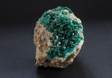 Sample of Dioptase mineral from Kazakhstan. stock photos