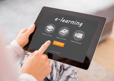Sample e-learning website on tablet computer Stock Photography