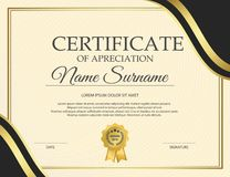 Certificate template with luxury and modern pattern,diploma,Vector illustration royalty free illustration
