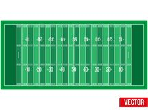 Sample football field in a simple outline. Stock Photo