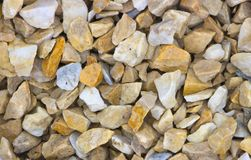 A sample of gravel from travertine and marble, used in landscape design to create a garden of stones Stock Photo