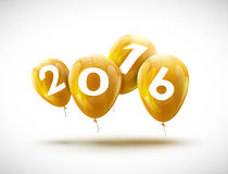 Sample greeting card 2016 Christmas card with realistic yellow balloons and numbers.  Royalty Free Stock Image