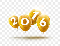 Sample Greeting Card 2016 Christmas card with realistic Yellow Balloons and numbers on transparent background.. Image Printer, stocks, greetings, e-mail, Web Stock Images