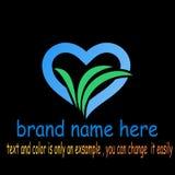 Creative love leaf logo vector. Sample icon love leaf logo vector Royalty Free Stock Image