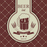 Sample menu with a beer mug Royalty Free Stock Images