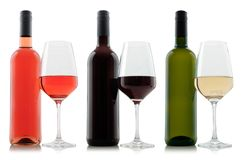 Sample mock-up of blank bottles and glasses with white red and rose wines royalty free stock images