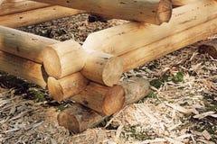 Sample of modern loghouse construction process.Taken closeup. Stock Photo