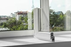 Sample of modern window profile on sill. Space for text stock photography