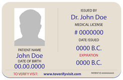 Sample Of The Patient Is Identification Card Royalty Free Stock Photos