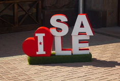 Sample of outdoor advertising. Symbolizing the trade discounts royalty free stock image