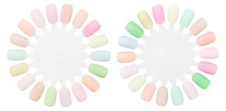 Sample palettes artificial nails,  isolated white background. Sample palettes artificial nails, on isolated white background Stock Image