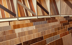 Sample parquet boards in hardware store Royalty Free Stock Photo