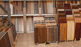 Sample parquet boards in hardware store Stock Photo