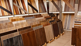 Sample parquet boards in hardware store Stock Image