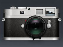 Illustration of camera Leica on gray background with reflection. Sample of professional film camera drawn in Photoshop on a dark background Royalty Free Stock Photos