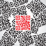 Sample red qr code. Sample qr code. Red on black Royalty Free Stock Photos