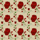 Sample of a red rose wallpaper pattern Stock Image