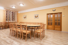 Sample room. With table and chairs stock photography