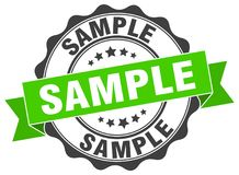 Sample seal. Sample round ribbon seal isolated on white background Stock Images